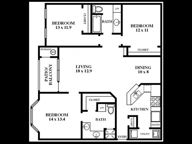 about the place apartment 3 bedrooms total 1 bedrooms available single