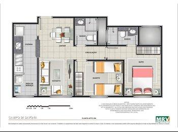 ALUGO  Quarto em apartamento condomínio fechado, Campo di...