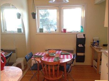 Big Windows, wood flooring, and toasty warm!