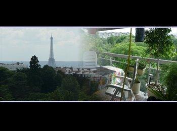 Appartager FR - Gde chambre neuf/VUE Tr Eiffel/CALME SOLEIL parc - 19ème Arrondissement, Paris - Ile De France - 800 € /Mois