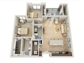Room Available in Two Bedroom Suite at Skywater Apartments
