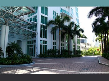 EasyRoommate US - Beautiful room in Brickell on first floor of 2 story corner loft with private balcony bathroom river - Brickell Avenue, Miami - $1,000 /mo