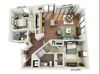 Master Bedroom for Rent in a 2 Bed + 2 Bath (U St/Columbia...
