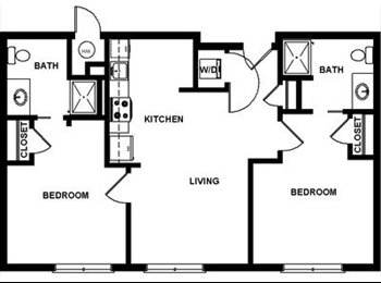 student housing: private room and bathroom in 2 bed 2 bath...