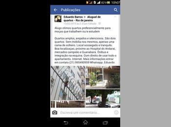 EasyQuarto BR - Alugo otimos quartos preferencialmente para moças que trabalhem ou/e estudem - Grajaú, Rio de Janeiro (Capital) - R$500