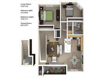 $718 for 1 bedroom in 2 bedroom apartment