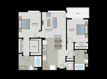 EasyRoommate US - 1bedroom/1bath available in a 2bedroom/2bath, Gaskill - $1,650 pm